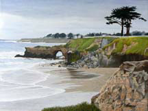 """Rainy Monday, Santa Cruz"", an oil painting by Jessica Maring"